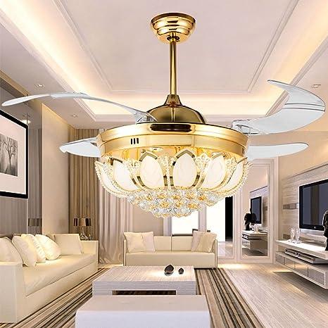 LUOLAX - Ventilador de techo moderno con lámparas cromadas y ...