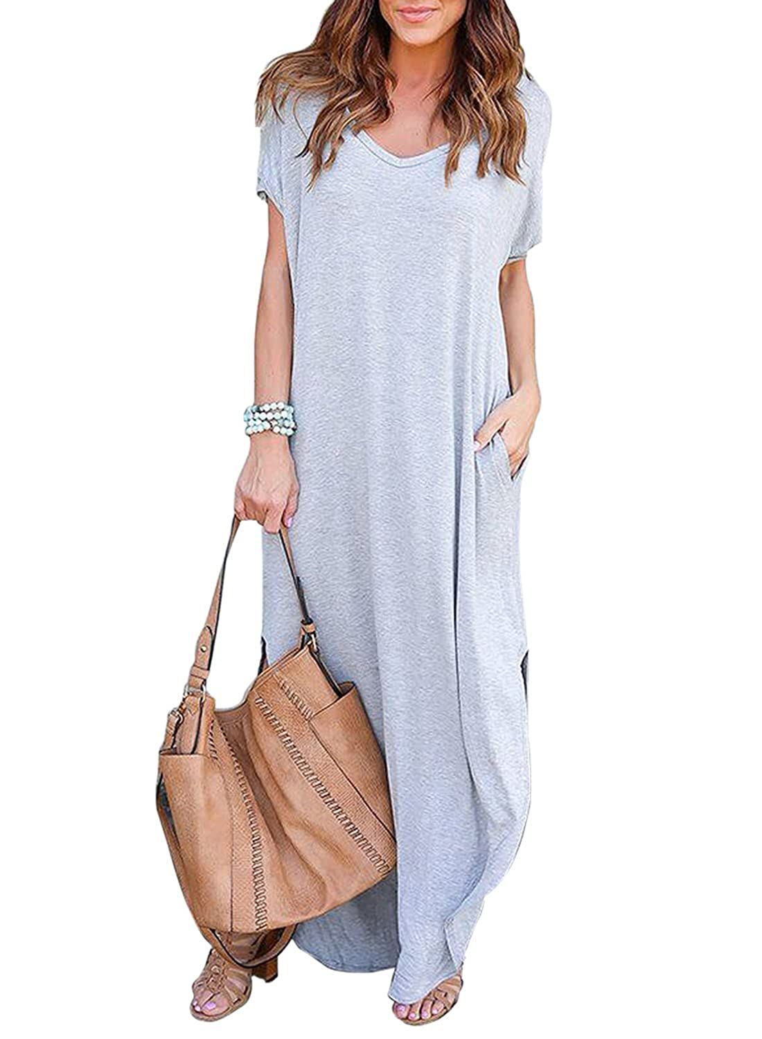 537213d4a74c ... wonderfully spring and summer wear. NOT SHEER! The simple solid color maxi  dress features sexy v neck, short sleeves , side split, casual loose long  ...