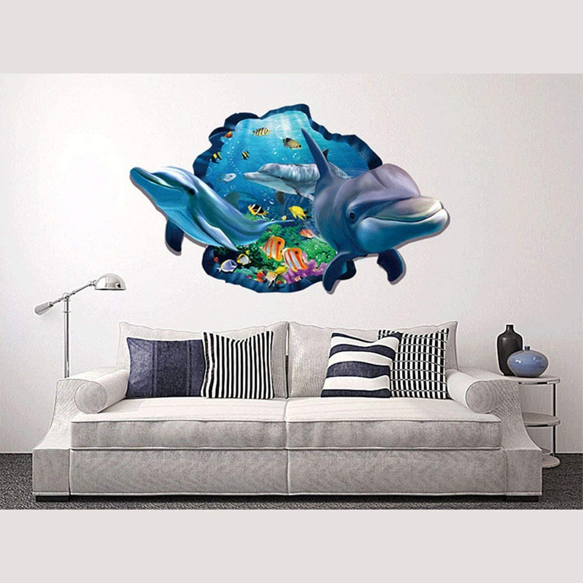 Pandamama Sea Dolphin Removable Self-Adhesive Window Wall Stickers Decal Decor Exquisite Wall Stickers for Home Decoration