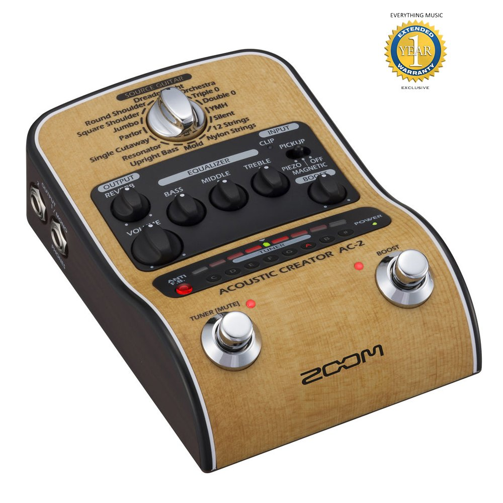 Zoom AC-2 Acoustic Creator DI/Direct Box with 1 Year EverythingMusic Extended Warranty Free