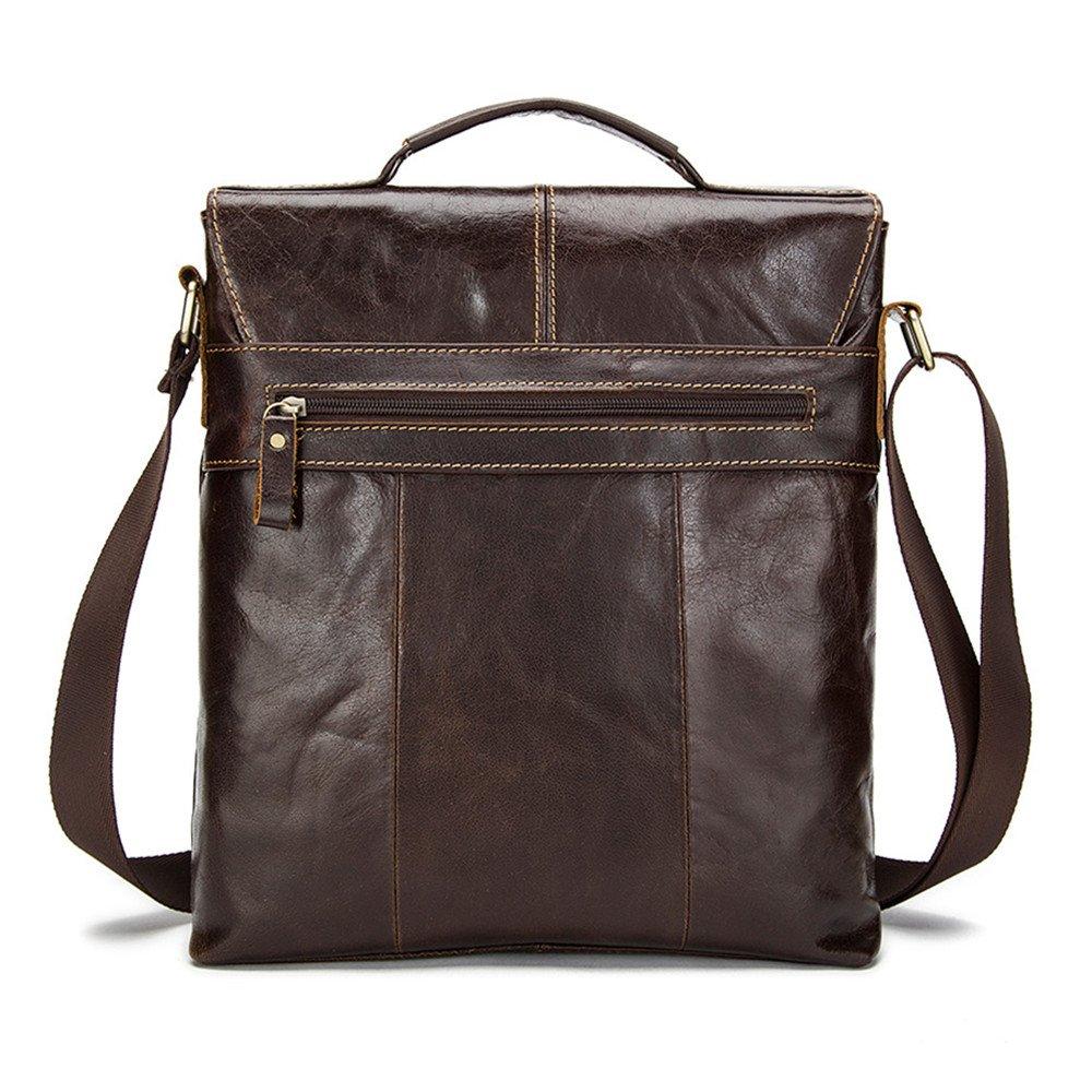 WUSHIYU Mens Messenger Bag Mens Briefcase Leather Retro Mens Shoulder Bags Leather Flap Crossbody Bags Vertical Mens Bags Suitable for Business Casual Satchel Shoulder Bag