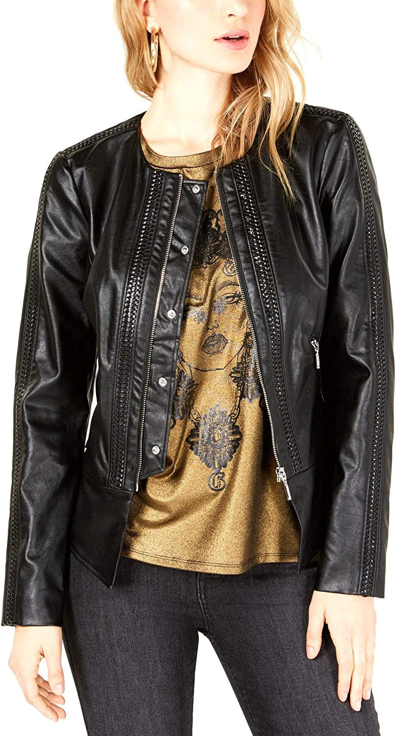 Guess | Mae Ruffle Faux-Leather Jacket | Jet Black Multi