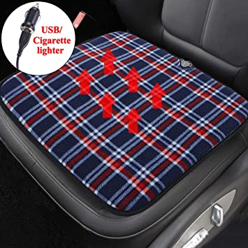 USB Heated Car Home Seat Cushion Black 5V Heating Warmer Pad Winter Hot Cover,