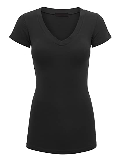 34a24fe1da1a Lock and Love WT1606 Womens Basic Fitted Short Sleeve V-Neck T Shirt S Black