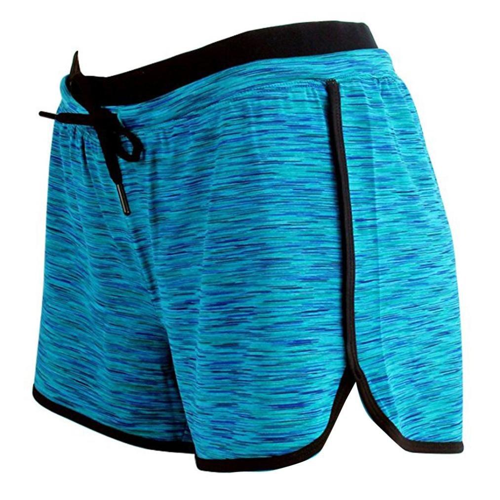 BCDshop Women Workout Fitness Running Shorts, Lady Elastic Waist Sport Shorts Pants (Blue, XL)