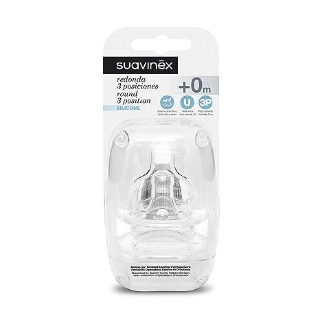 Suavinex 300142 - Tetina 3 posiciones silicona, boca ancha - 2 unidades