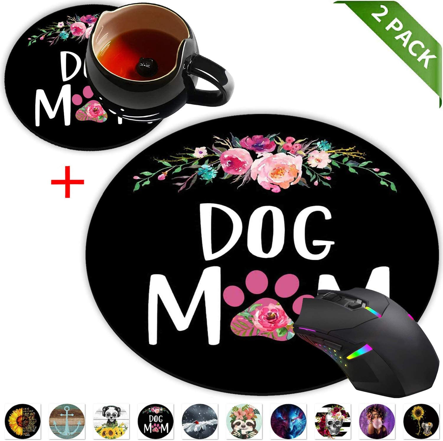 Round Mouse Pad and Coasters Set, Dog Mom Floral Design Mousepad, Anti Slip Rubber Round Mousepads Desktop Notebook Mouse Mat for Working and Gaming