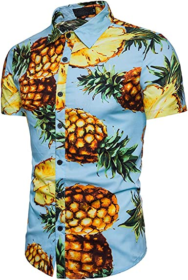 Lenfesh Camisa para Hombre Hawaiana de Piña Estampado Algodón ...