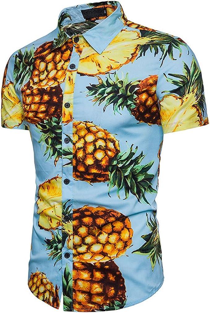 ASHOP - Camisetas Hombre - Summer T-Shirt - Piña Impresa Top de ...