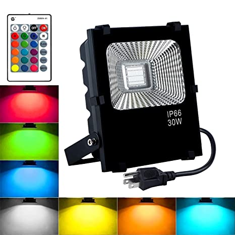 Rgb Led Flood Lights 30w Outdoor Color Changing Floodlight With Remote Control Ip66 Waterproof Spotlight 16 Colors 4 Modes Dimmable Wall Washer