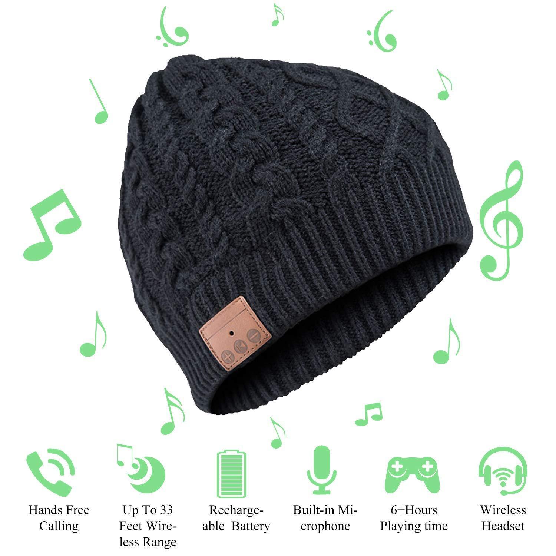 JIANYIJIA Musica Cappello Cuffia,Bluetooth Beanie Berretto Corsa con costruito in Stereo Wireless Cuffia