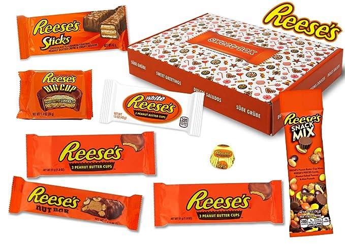 Reeses - Sweet Box - Cesta de regalo | 8 dulces estadounidenses diferentes | Tazas de