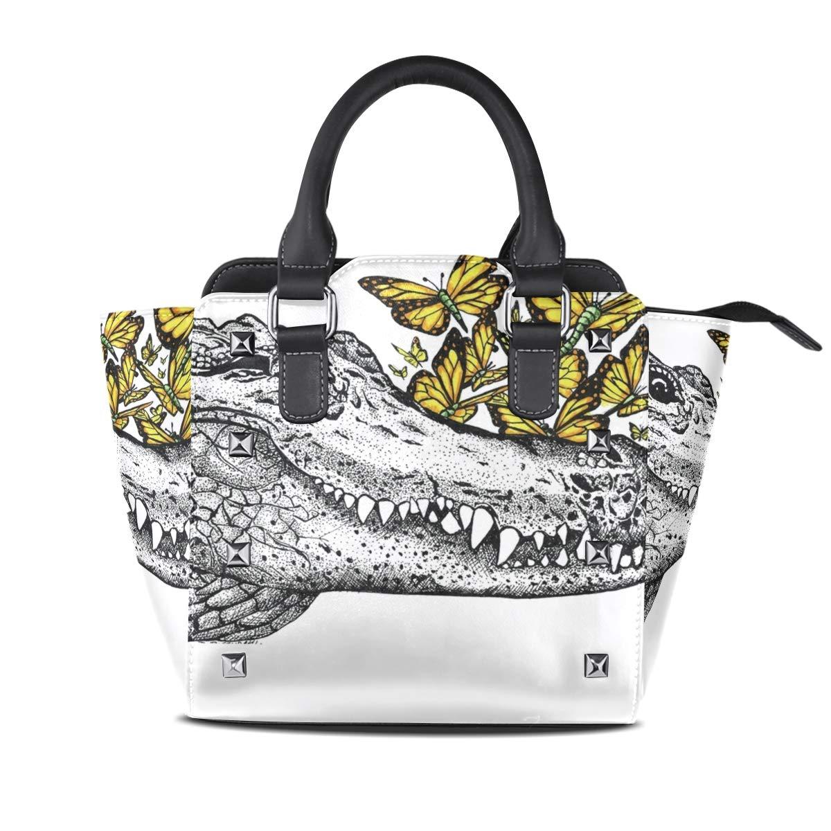 Design2 Handbag Charming Deer Genuine Leather Tote Rivet Bag Shoulder Strap Top Handle Women