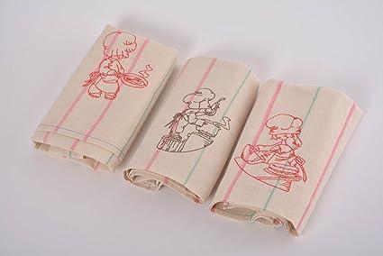 Juego de hecho a mano semi toallas de lino con bordado 3 piezas Decoración para el