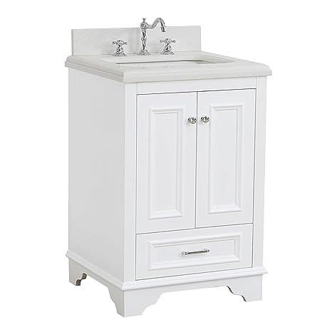 Nantucket 24 Inch Bathroom Vanity Quartz White Includes
