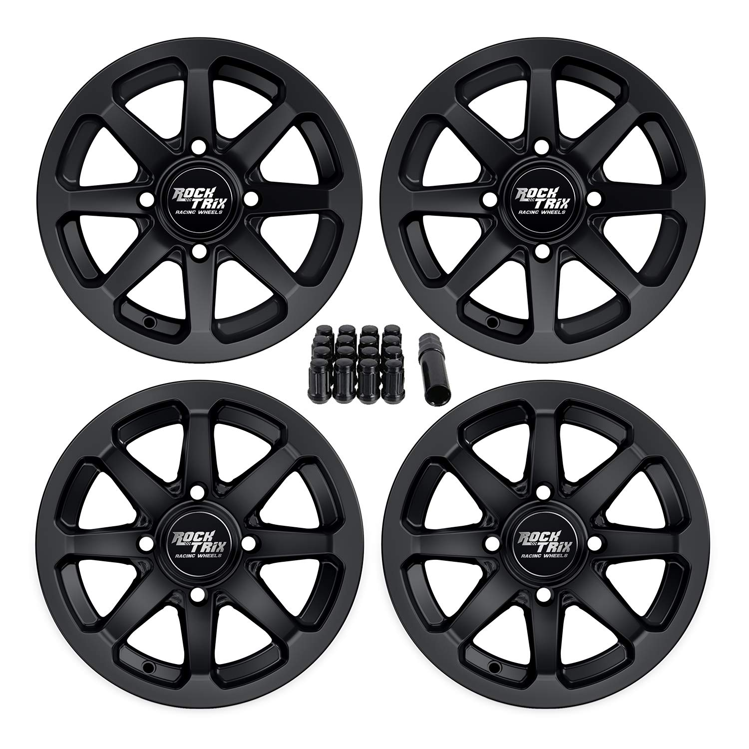 RockTrix RT102 12'' ATV Wheels 4x110 Rims | 12x7 | 5+2 F / 2+5 R Offset | 10x1.25 Spline Lug nuts | SRA Vehicles Honda Foreman Rancher Fourtrax Rubicon Suzuki Vinson Solid Rear Axle, honda rancher rims