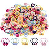 WillingTee 100pcs (50 pairs) Mix Colors Girl's Elastic Hair Ties Soft Rubber Bands Hair Bands Holders Pigtails Hair…
