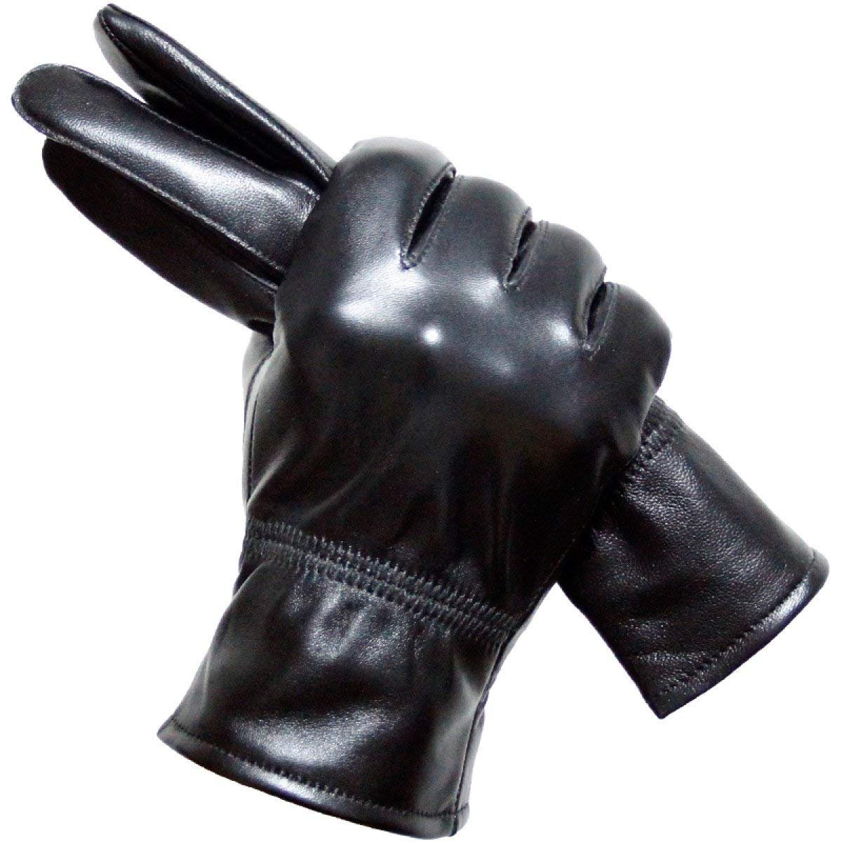 CWJ Leather Gloves Male Thick Warm Gloves Thin Section,Black,X-Large