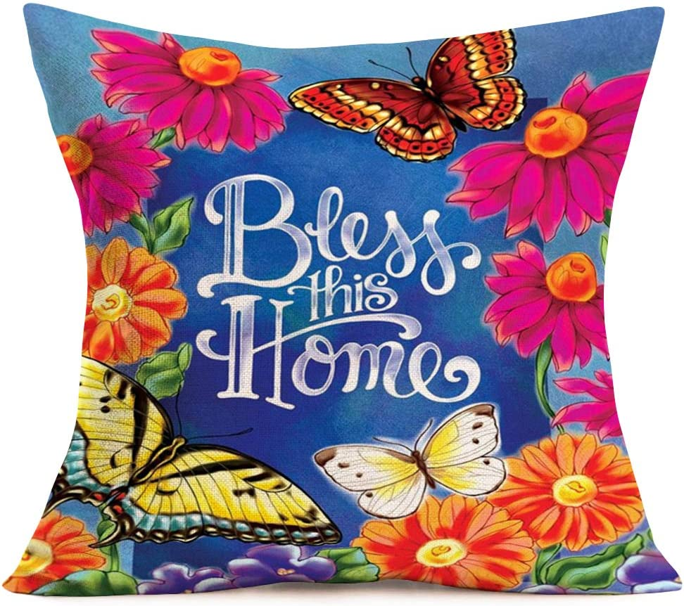 Hopyeer Fall Colorful Flowers Print Pillow Covers Cotton Linen Bless This Home Warm Quote Daisies Bloom Butterflies Background Pillowcase Standard Cushion Cover for Sofa Bed Car 18