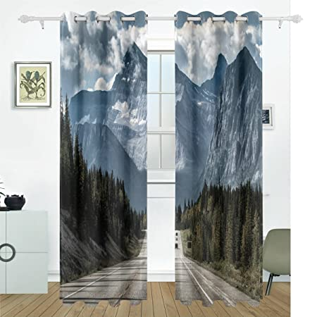 Amazon.com: Window Curtains, Mountain Road Forest Grey White ...