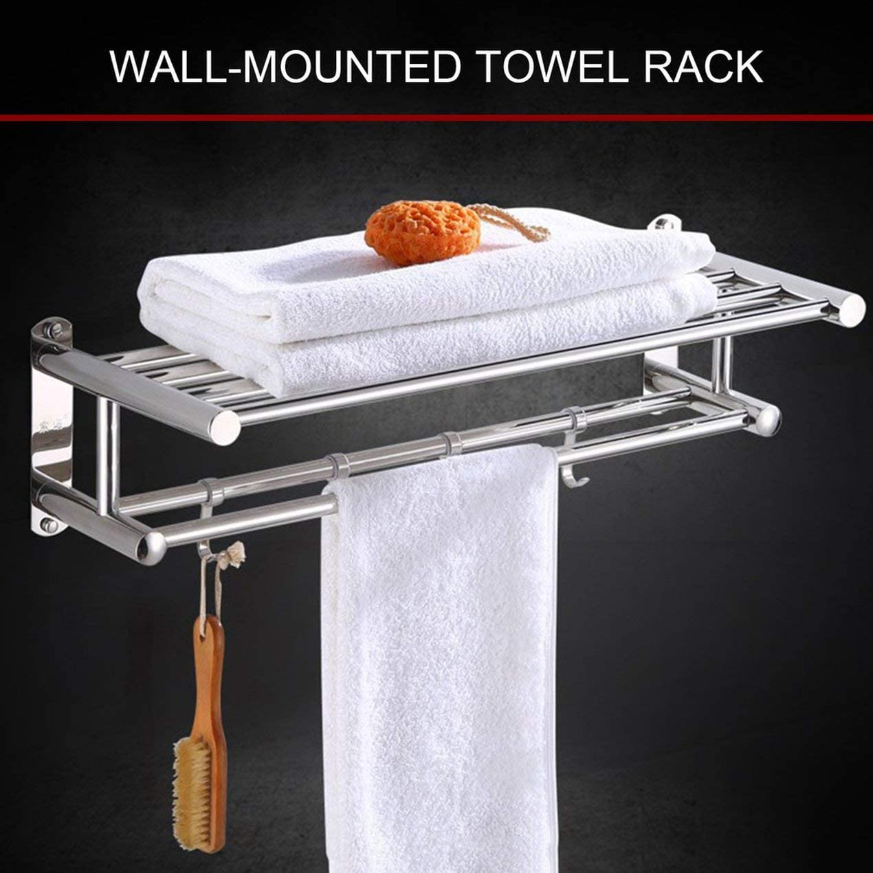 Bathroom Towel Holder Bathroom Organizer Stainless Steel Wall-Mounted Towel Rack Home Hotel Wall Shelf Hardware Accessory
