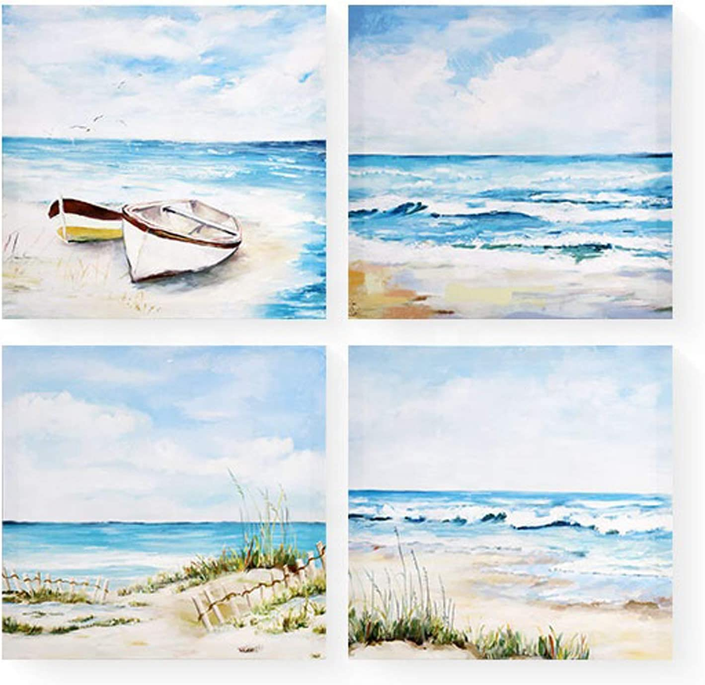 Beach Wall Art Canvas Blue and White Pictures: Sea wave Modern Impressionist Artwork Print for Bathroom Living Room Bedroom Home decor Painting Ready to Hang (12'' x 12'' x 4 Panels)