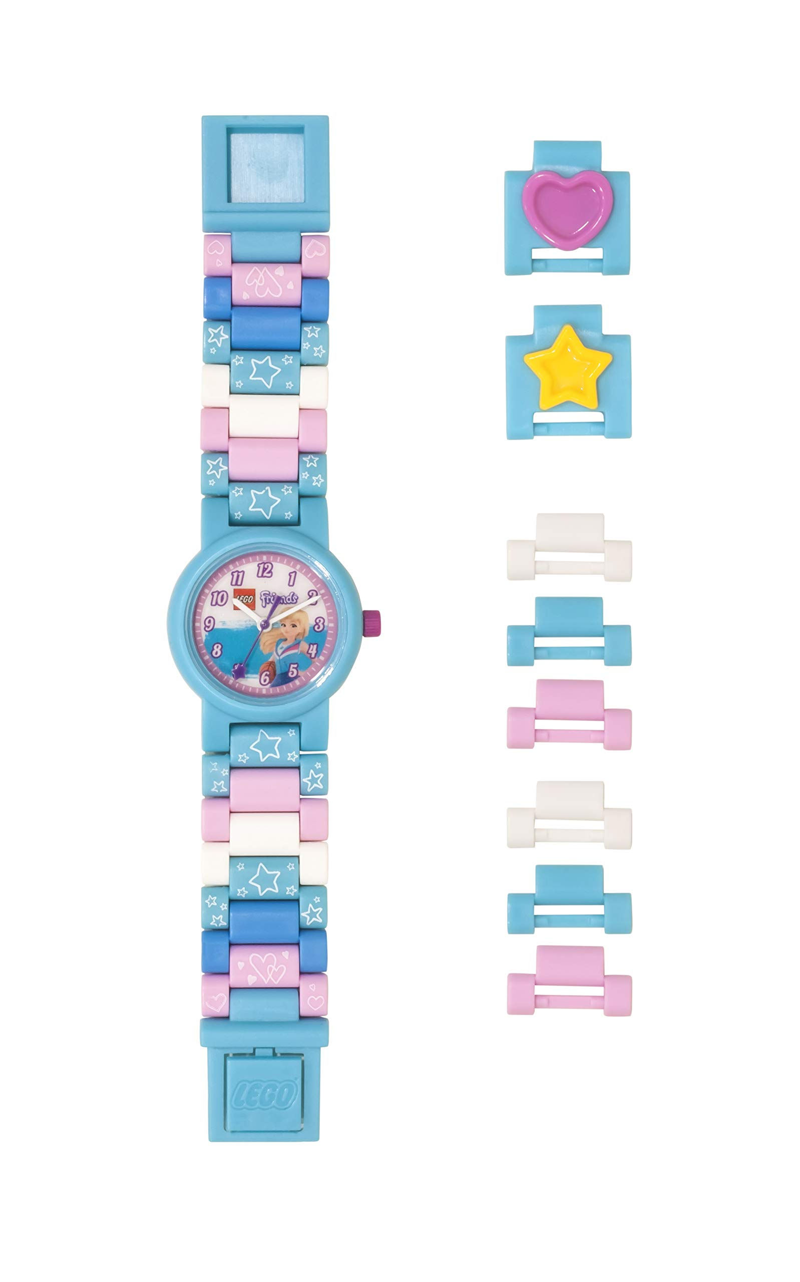 Lego Friends 8021254 Stephanie Kids Buildable Watch with Link Bracelet | Blue/White | Plastic | 25mm case Diameter| Analog Quartz | boy Girl | Official by ClicTime
