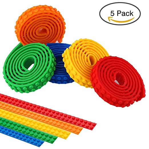 Building Block Tape,5 Rolls Self Adhesive Backing for Lego Toy Building Block,Silicone Non-toxic Cuttable Reusable Baseplate Strips,Perfect for Kids of All Age