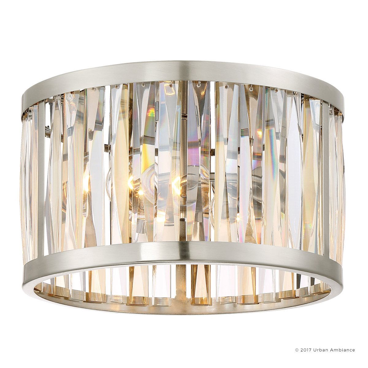 Luxury Crystal Ceiling Light, Small Size: 8''H x 13.25''W, with Modern Style Elements, Drum Design, Brushed Nickel Finish and Alternating Cut Amber and Clear Glass Shade, UQL2572 by Urban Ambiance