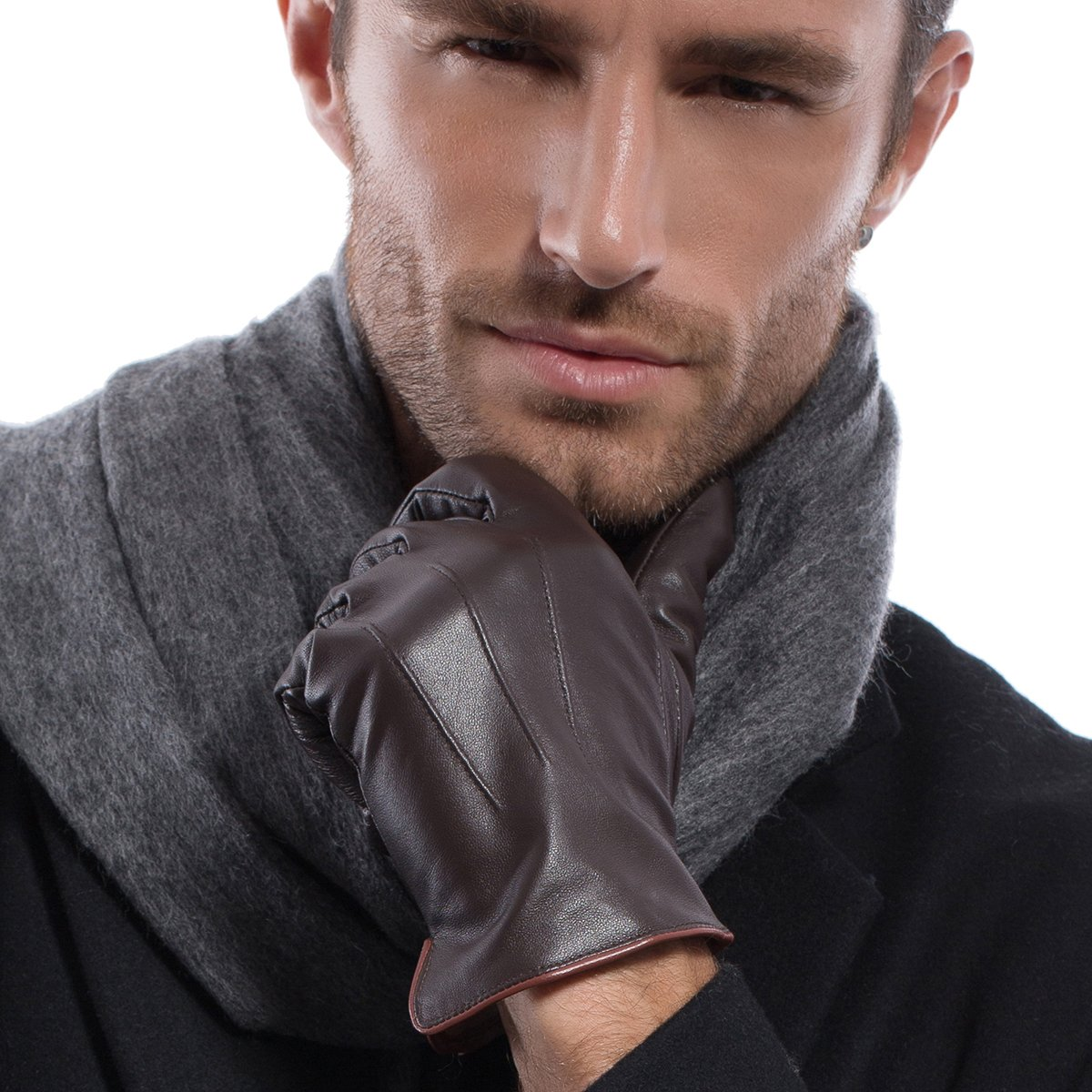 MATSU Luxury Men Winter Warm Lambskin Leather Gloves M1006 (L, Brown(2014 winter new /100% cashmere lining / Touchscreen available))