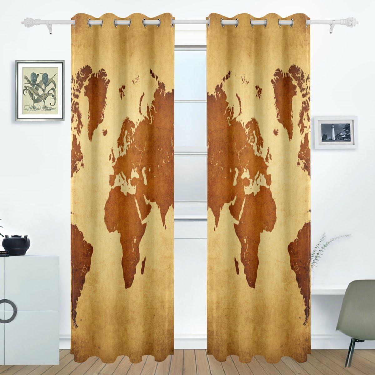 bennigiry Vintage mapa del mundo cortinas Drapes paneles oscurecimiento opaco Arandela separador para el jardín ventana corredera de cristal puerta 55 x 84 pulgadas, 2 paneles: Amazon.es: Hogar