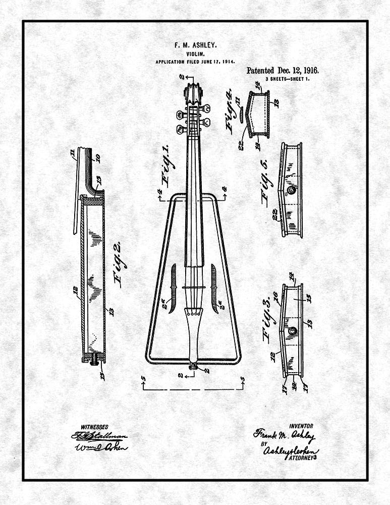 Amazon Com Violin Patent Print Gunmetal With Border 8 5 X 11