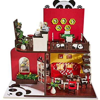 LFHT DIY Miniature Dollhouse Kit Realistic Mini 3D Wooden Panda\'s House Room Craft Furniture LED Lights Christmas, Birthday Gift for Boys & Girls Home Decoration: Toys & Games [5Bkhe0201964]