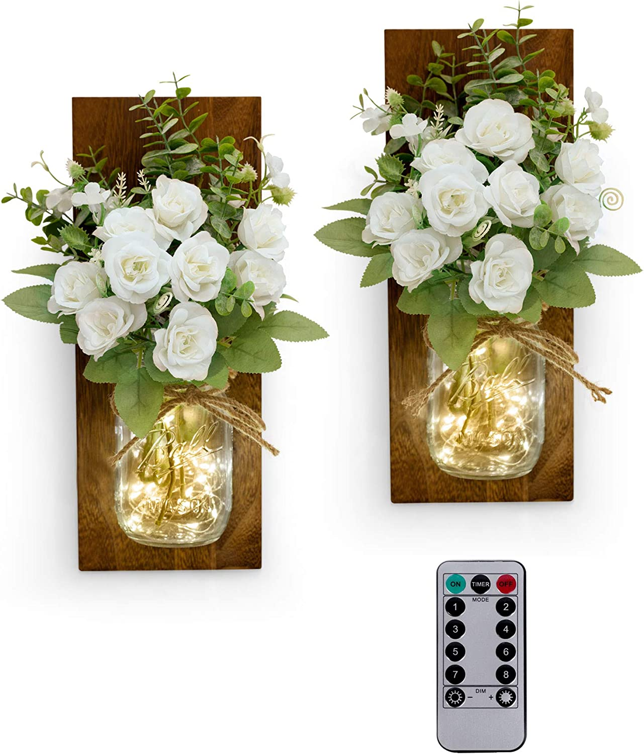 RS Sunlight Rustic Mason Jar Wall Sconce with String LED Lights - Farmhouse Wall Decor for Bedroom Living Room Bathroom -Two Remote Controls - White Rose Bouquet- (Set of 2)