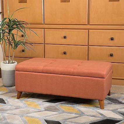 Maddox Storage Bench   Orange
