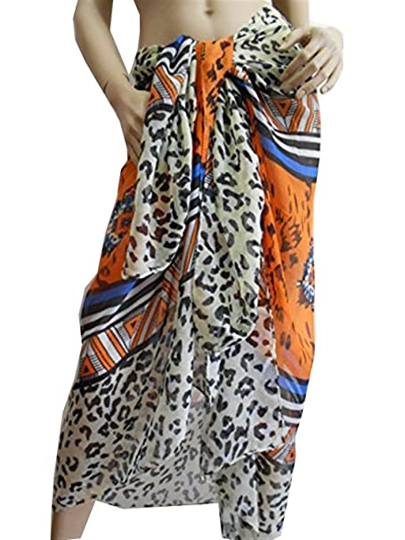 b493c682c6b79 Image Unavailable. Image not available for. Color  Leopard Beach Wear Orange  Beach Cover up ...