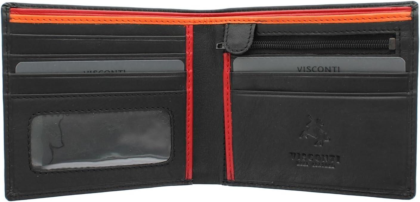 Visconti Colección Bond LE CHIFFRE Cartera de Cuero para Hombre BD707 Negro/Naranja/Rojo