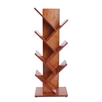 Amazon.com: MUGIAZII Bamboo Tree Bookshelf Book Rack Display ...