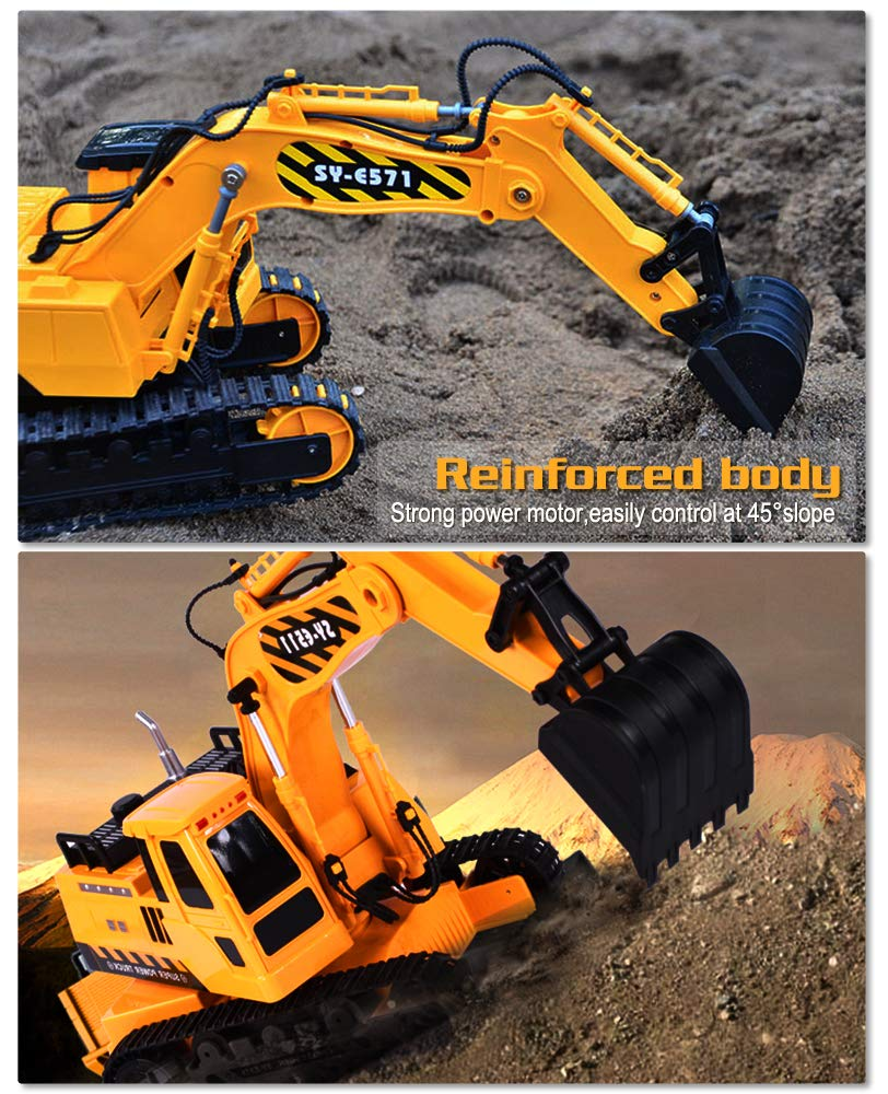 DOUBLE  E Remote Control Excavator Full Functional Construction Tractor, Rechargeable RC Truck Excavator with 2.4Ghz Transmitter by DOUBLE  E (Image #4)