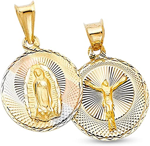 MENS 14K YELLOW GOLD FILLED JESUS MARY PENDANT