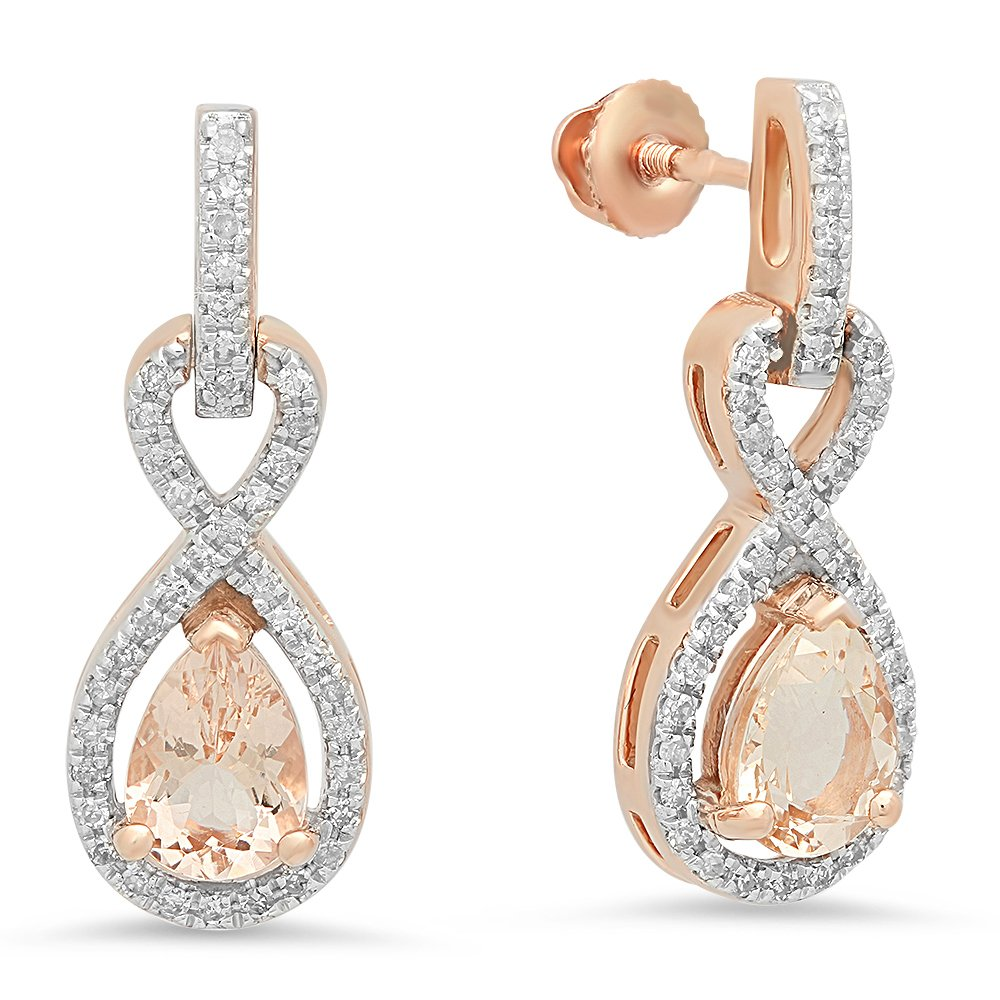 10K Rose Gold 7X5 MM Each Pear Morganite & Round White Diamond Infinity Swirl Dangling Drop Earrings
