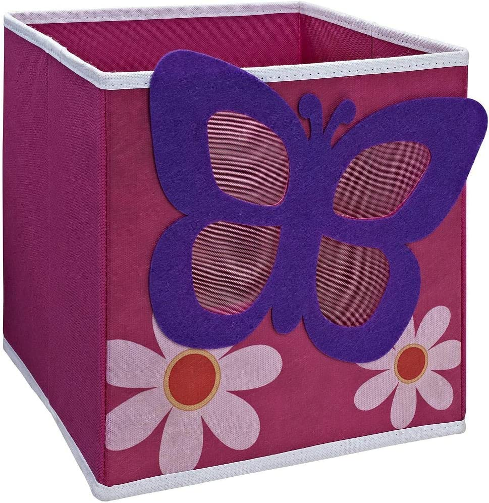 """SystemBuild Children's Playroom Kids Toys Organizing 11"""" x 11"""" Character Fabric Drawer/Storage Bin (Butterfly)"""