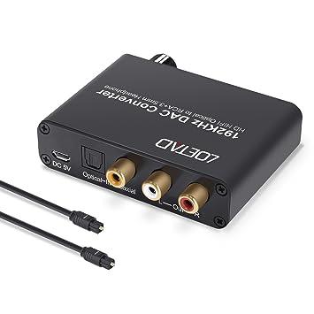 LOETAD Convertidor de Audio Digital a Analágico Conversor DAC de 192 KHz Coaxial Óptico Toslink Señal