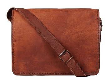 30918137ab58d VH 16  quot Leder Laptop Tasche Umhängetasche Ledertasche Schule College  Tasche leicht tragen Sie Laptop