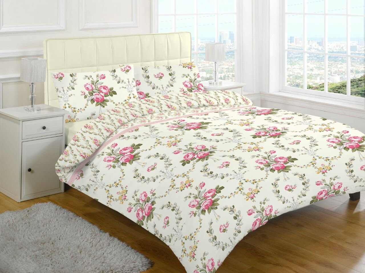 Goldstar® Flannelette Brushed Cotton Sheet Set Include Fitted Sheet, Flat Sheet & Pillow Case (Double, Olivia Natural Floral)