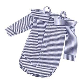Blesiya Abito Superiore Spalla Nuda Maniche Lunghe Camicia Righe Moda Per Bambola Accessorio 12 Pollici Tessuto - Blu Scuro