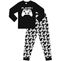 Boys Player 1 Gaming Controller Long Pyjamas Black White