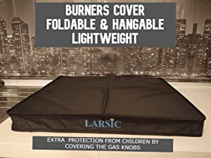Larsic Gas Stove Burner Cover, Large, Trendy Dust, and Cat Hair Surface Protection for Modern Kitchens, Flat Serving or Food Prep Area, Foldable and Portable Design (29.5x21, Black)