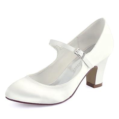 fd4ca45b40a3 Elegantpark HC1801 Women Mary Jane Closed Toe High Block Heel Court Shoes  Buckle Satin Wedding Bridal