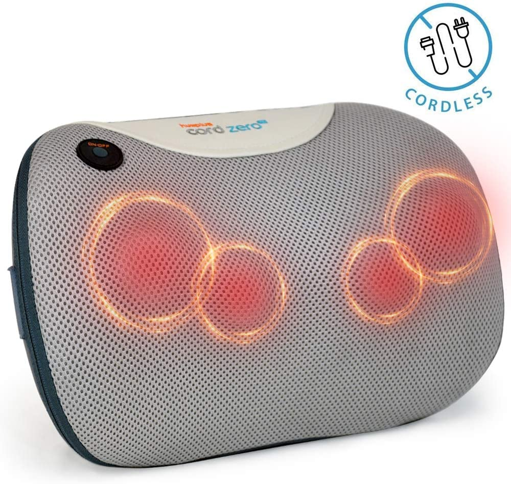 Hueplus CORDZERO-60 Cordless Shiatsu Massage Pillow with Heat for Lower Back, Neck and Shoulders, Deep Kneading Muscle Pain Relief for Home Office and Car